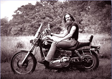 Paul Barden on a Harley Dyna Wide Glide